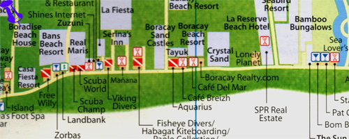 map for boradise beach resort